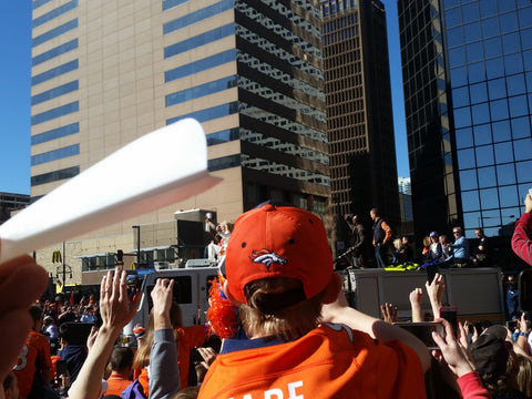 Flat funnel at Broncos Superbowl Winners Parade with the Lombardi Trophy and Payton Manning