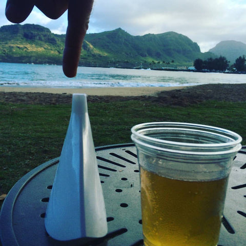 Flat Funnel relaxing with a cold beer in Kauai. Thanks Betty and Brian.