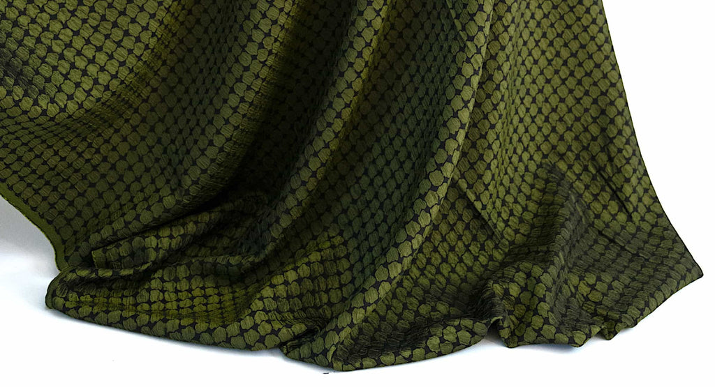 Green designer knit and woven fabrics curated by Vogue Patterns fashion designer Marcy Tilton and sold as yardage.