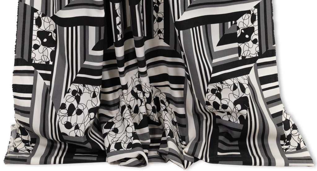 Geometric designer fabrics curated by Vogue Patterns fashion designer Marcy Tilton.