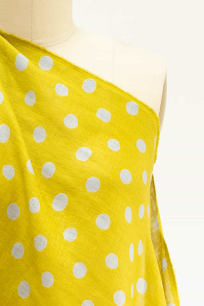 Acid  Green and Gray Dots Japanese Linen Woven