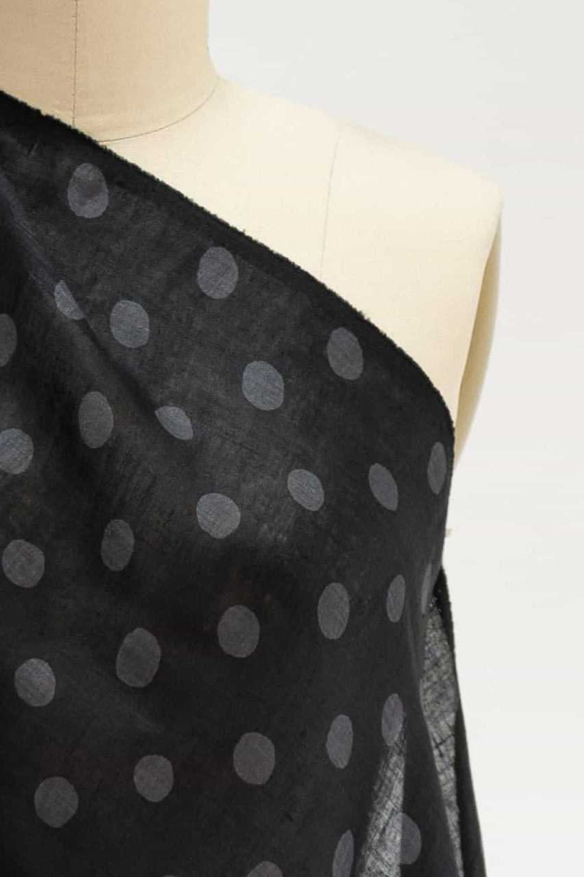 Black and Gray Dots Japanese Linen Woven