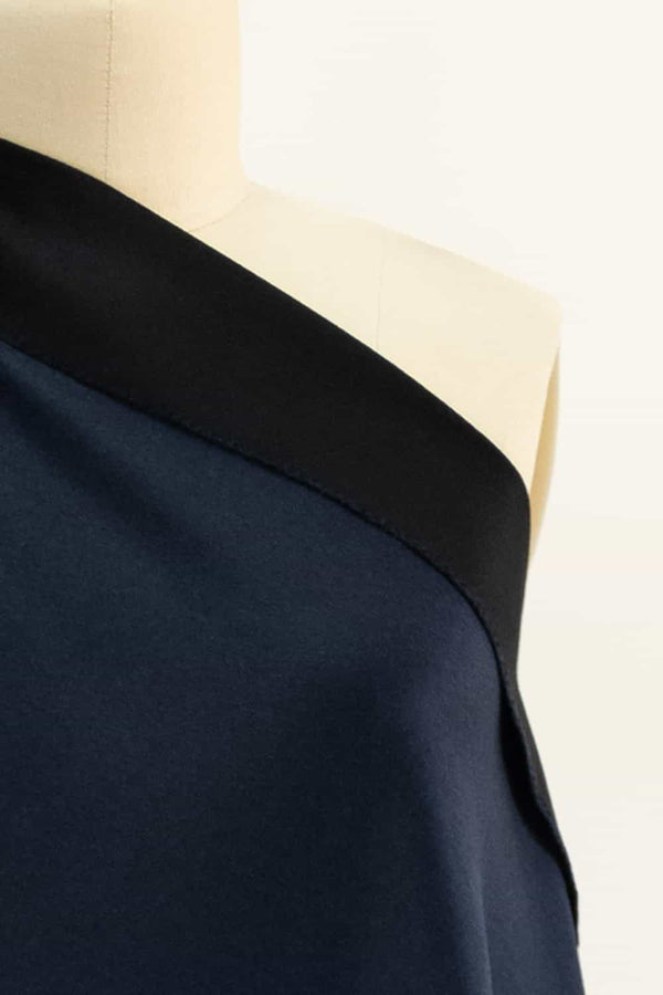 Navy and Black Double Sided Italian Cashmere Coating Woven