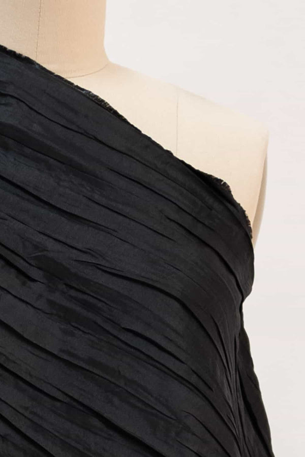 Black Crushed Pleat Woven
