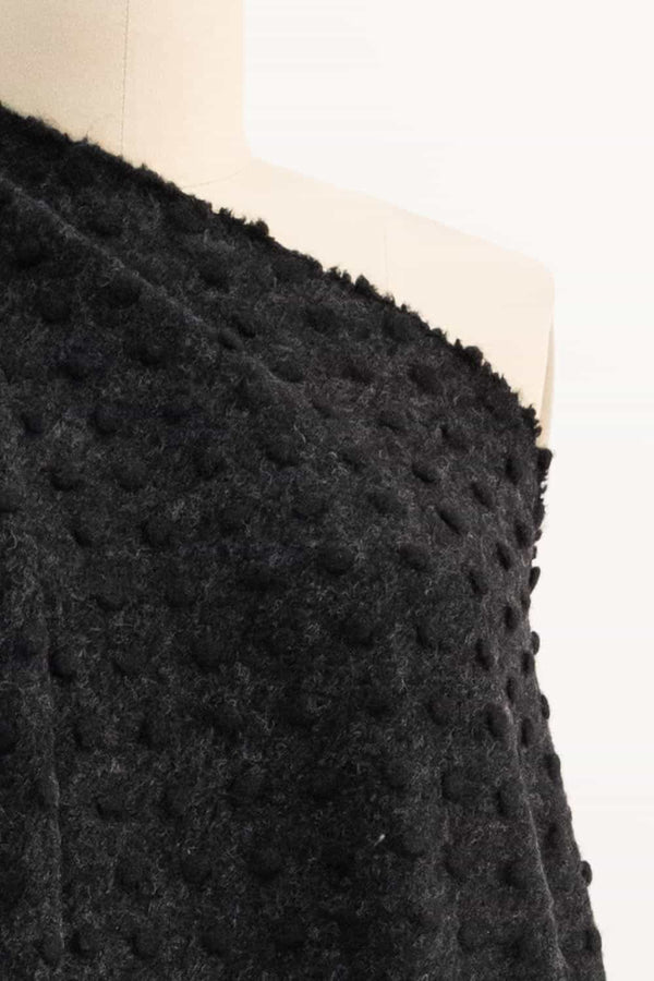 Black Dot Felted Wool  Italian Knit