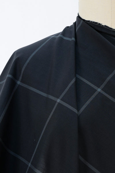 Black Ink Windowpane Checks Italian Cotton Woven
