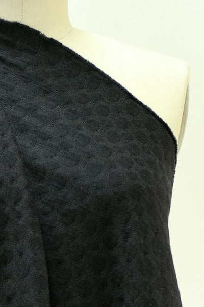 Black on Black Dot Jacquard French Woven
