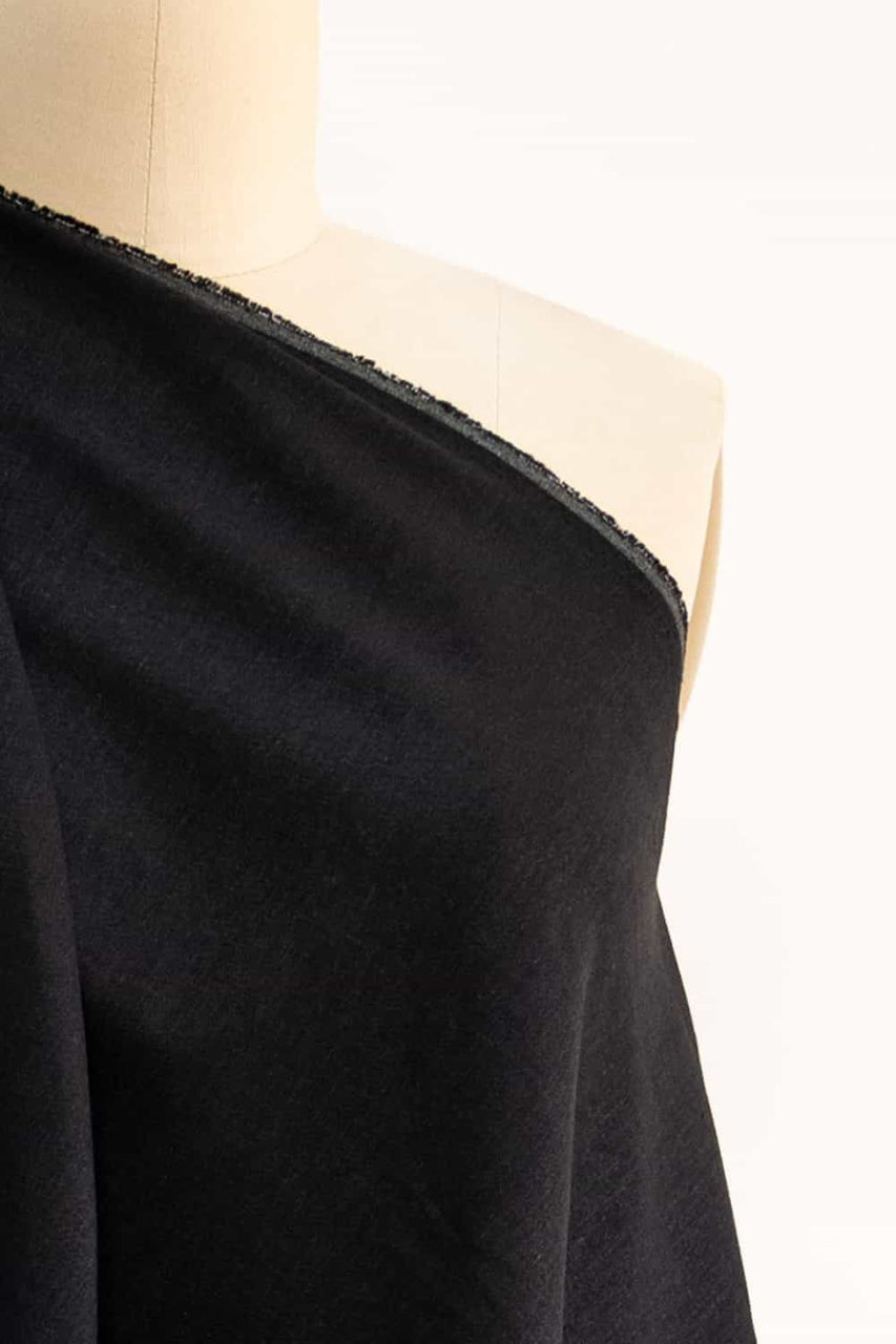 Black Stretch Linen Woven