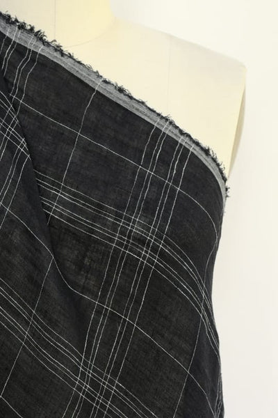 Black Windowpane Linen Woven