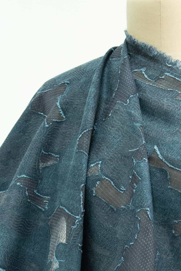 Blue Haze Clipped Jacquard Woven