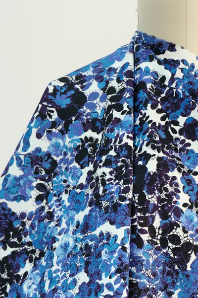 Blue Hour Floral Print Stretch Cotton Woven