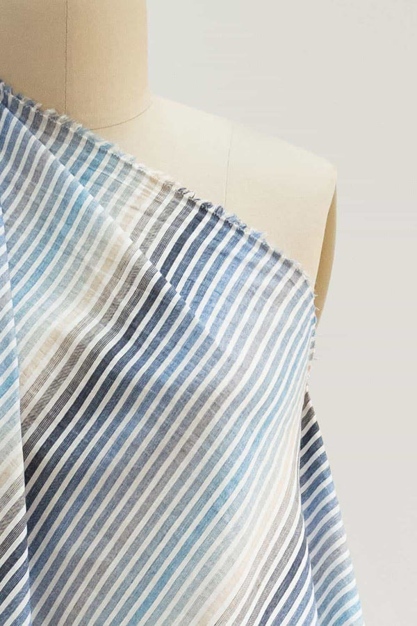 Blue Ombre Stripes Japanese Cotton Woven