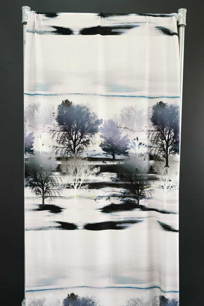 "Blue Trees French Digital Knit Panel   sold by the 29"" x 58"" panel"