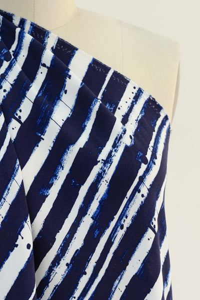Brave Blue Lines Viscose Woven