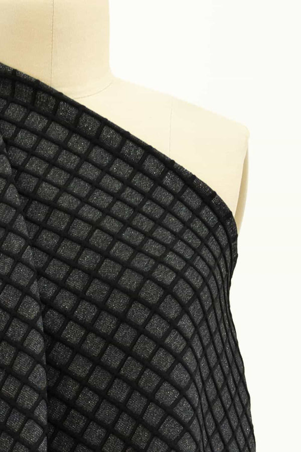 Charcoal and Black Grid Ponte Knit