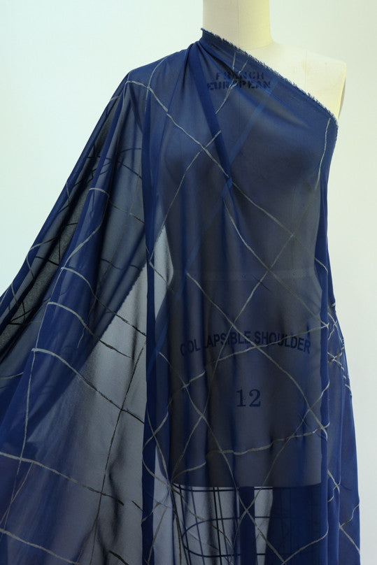 "Crackle Cobalt Georgette Panel Woven  sold by the 56"" x 55"" panel"