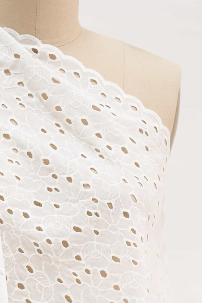 Cream Rose Cotton Eyelet Woven