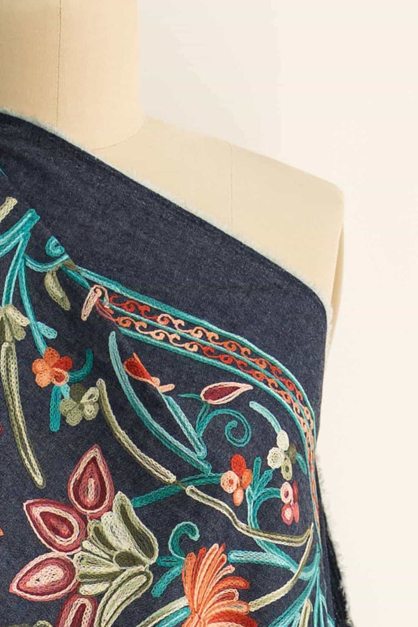 Boho Embroidered Denim Woven