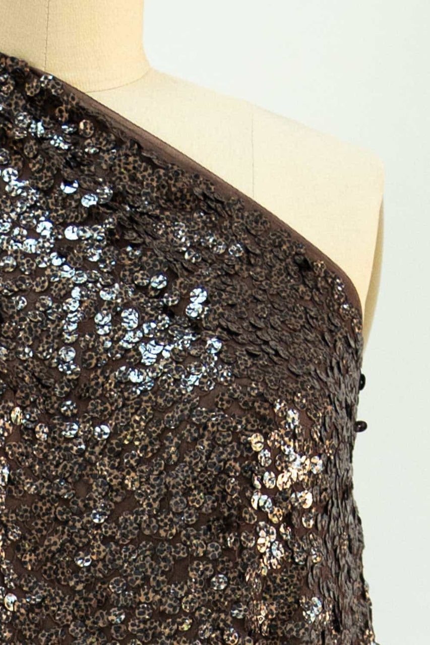 Faux Tortoise Shell Sequins Silk