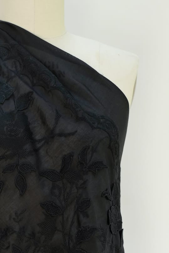 Floral Embroidered Black Rayon Woven