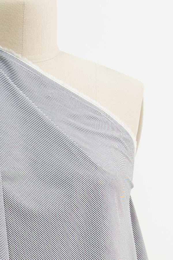Fluorite Gray Stripe Japanese Stretch Cotton Woven