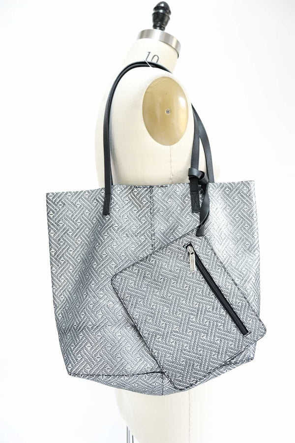 Embossed Silver Tote Bag