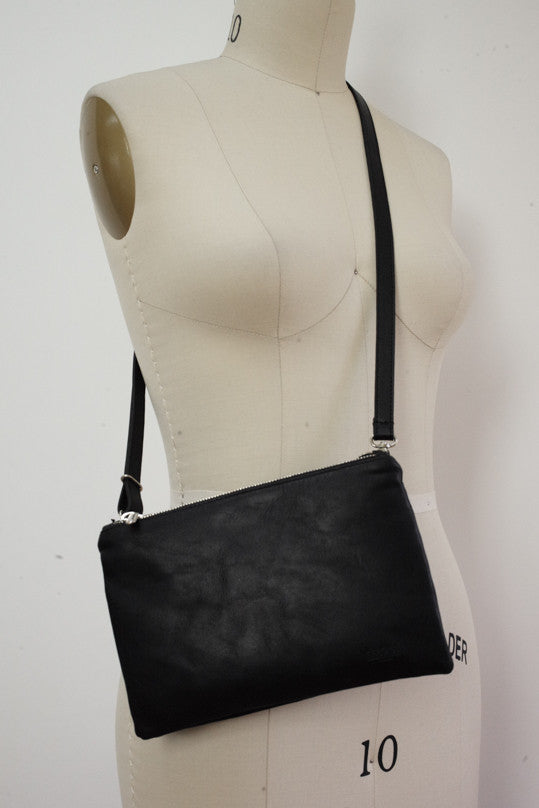 Trio Bag in Matte Black Leather