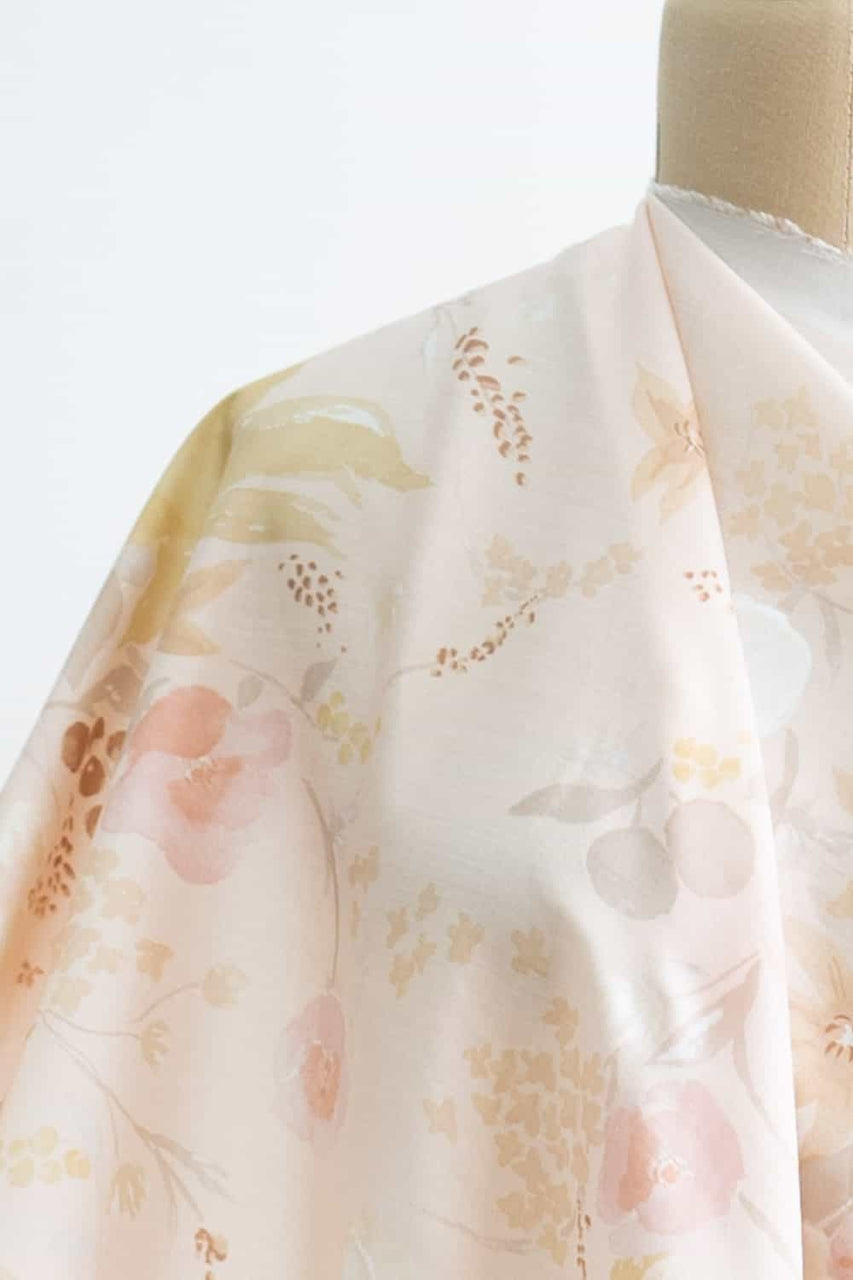 Iced Peach Floral Japanese Lyocell Woven