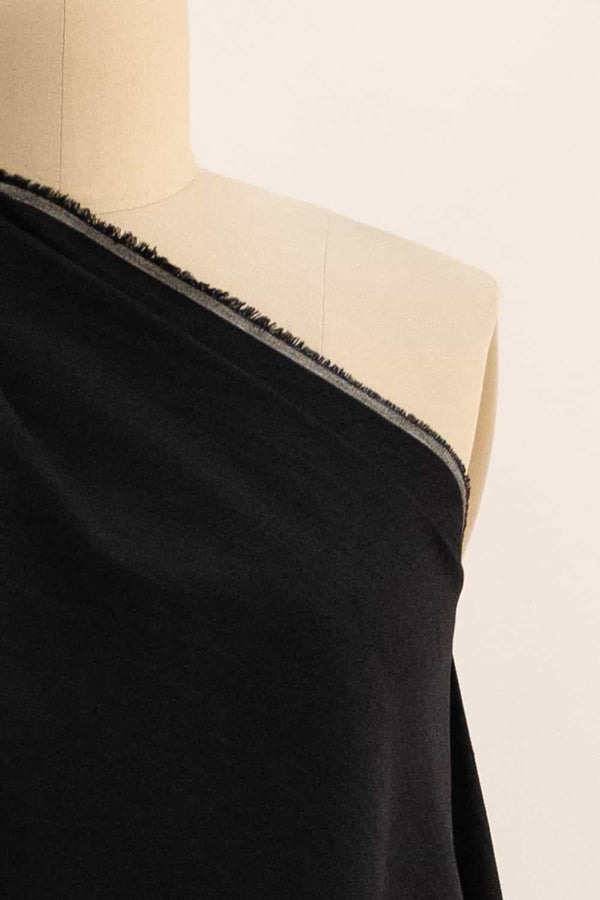 Iron Black Stretch Linen Woven