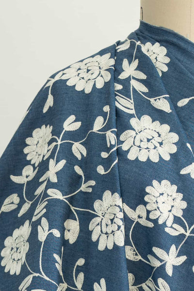Ivory Blooms Embroidered Cotton Denim Woven