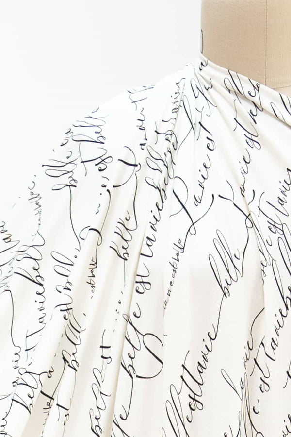 Ivory Calligraphy French Digital Knit