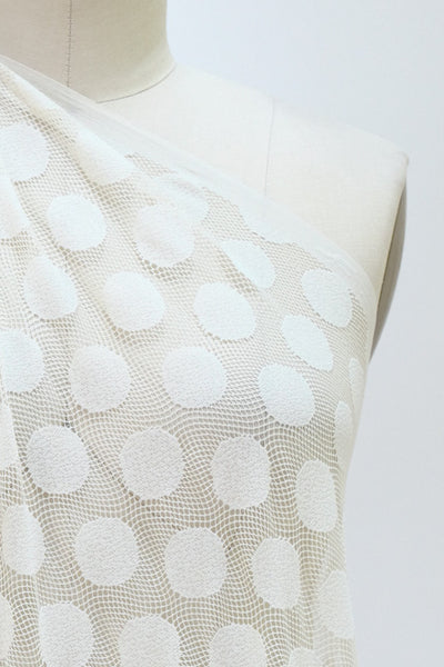 Ivory Medallion Dots Mesh Knit