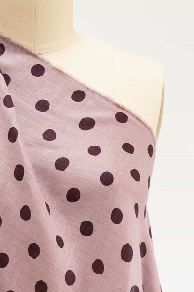 Lavender  and Burgundy Dots Japanese Linen Woven
