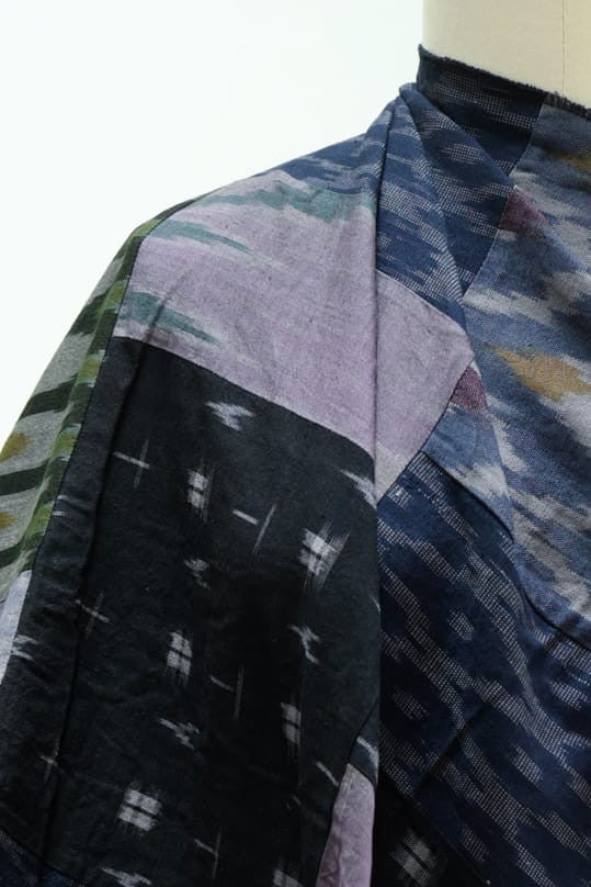 Lavender Gray Patchwork Ikat Woven