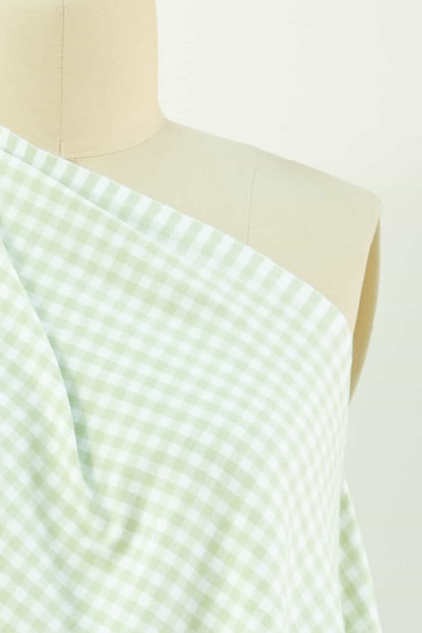Lime Gingham Checks Cotton Flannel Woven