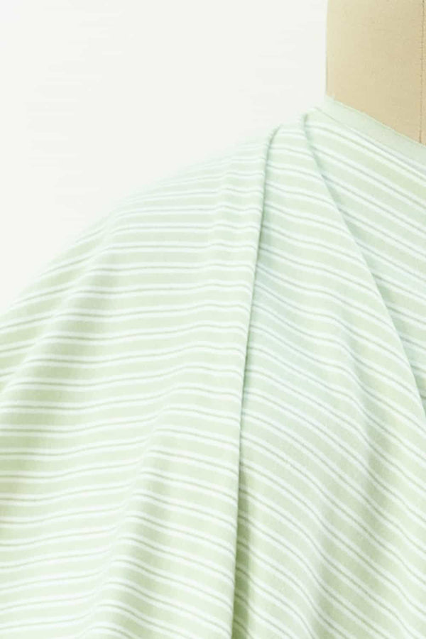 Lime Ticking Stripe Cotton Flannel Woven