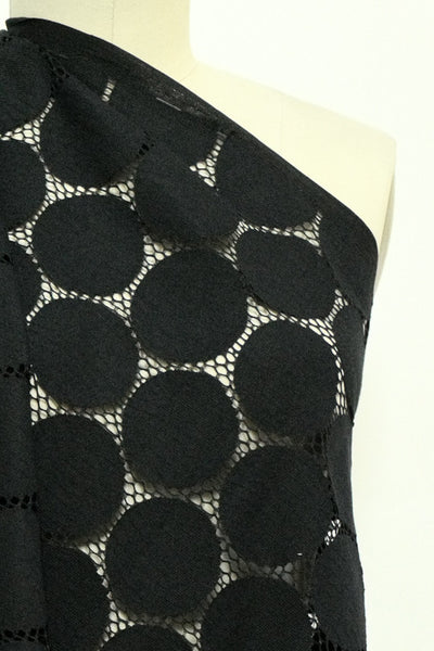 Black Mega Dot Cotton Lace