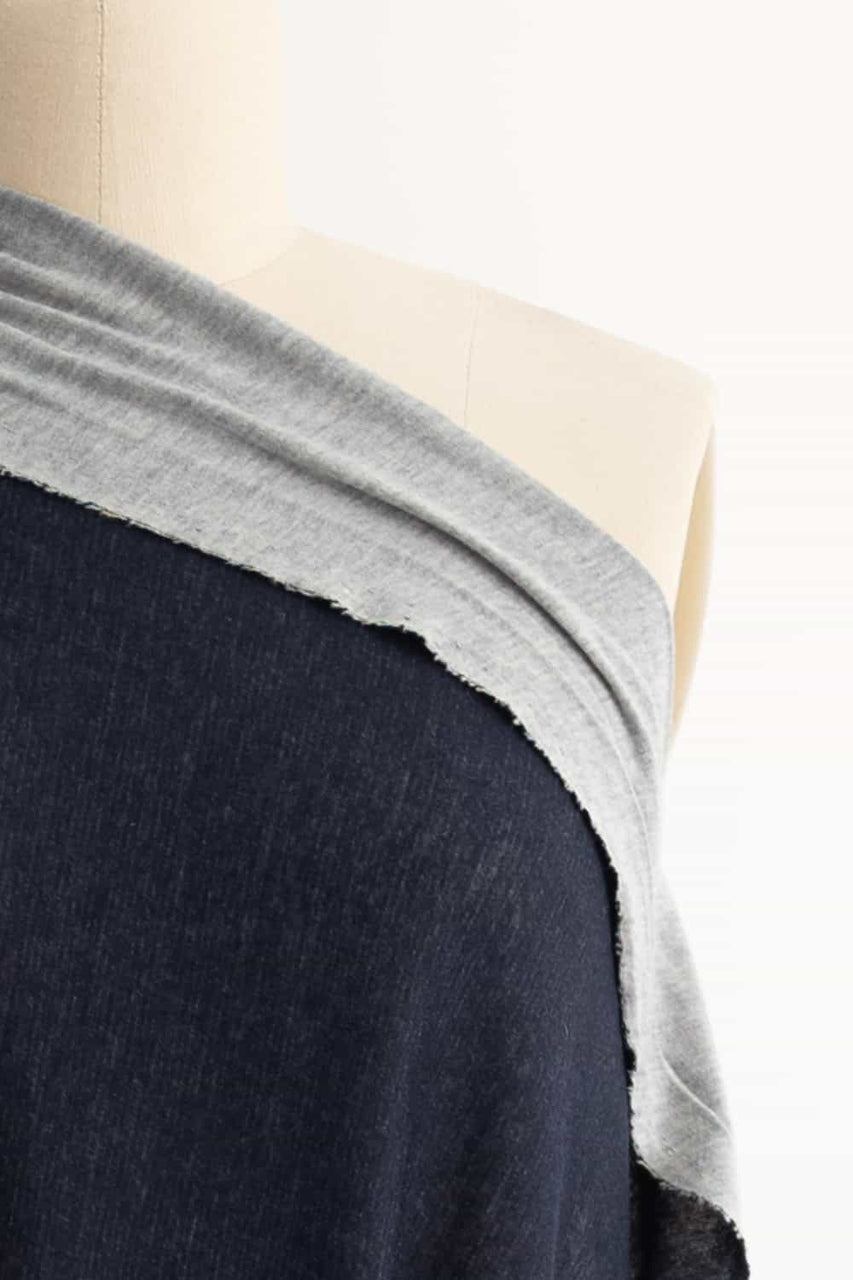 Navy And Pearl Gray Cotton/Cashmere Italian Knit