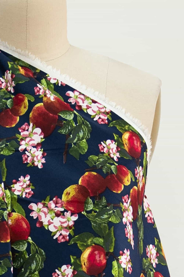 Navy Apple Blossom Stretch Cotton Sateen Woven