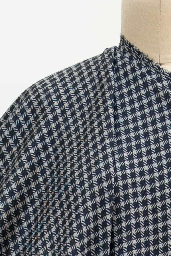Navy Bias Houndstooth Knit