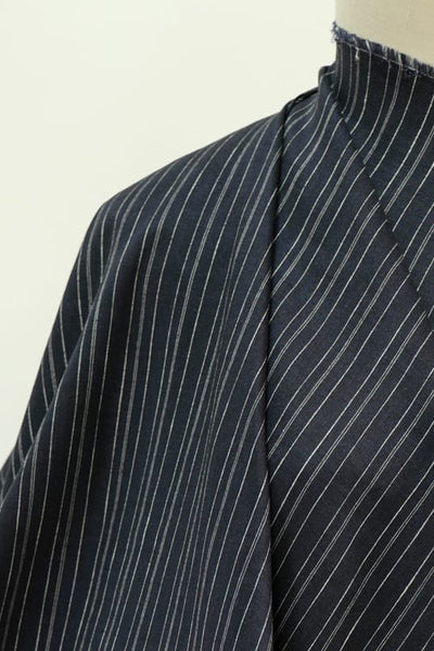 Navy Chalk Lines Stretch Linen Woven