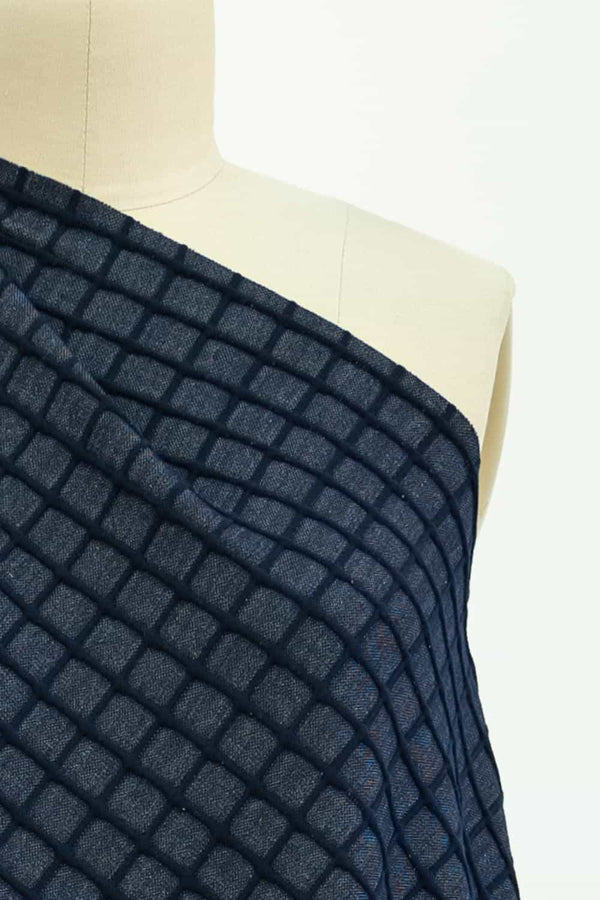 Navy Grid Ponte Knit