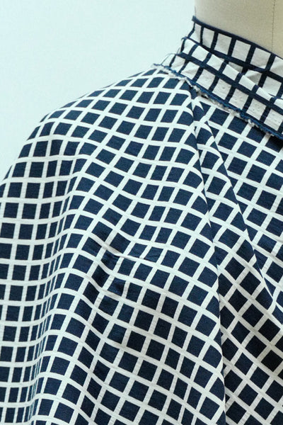 Navy Windowpane Stretch Woven