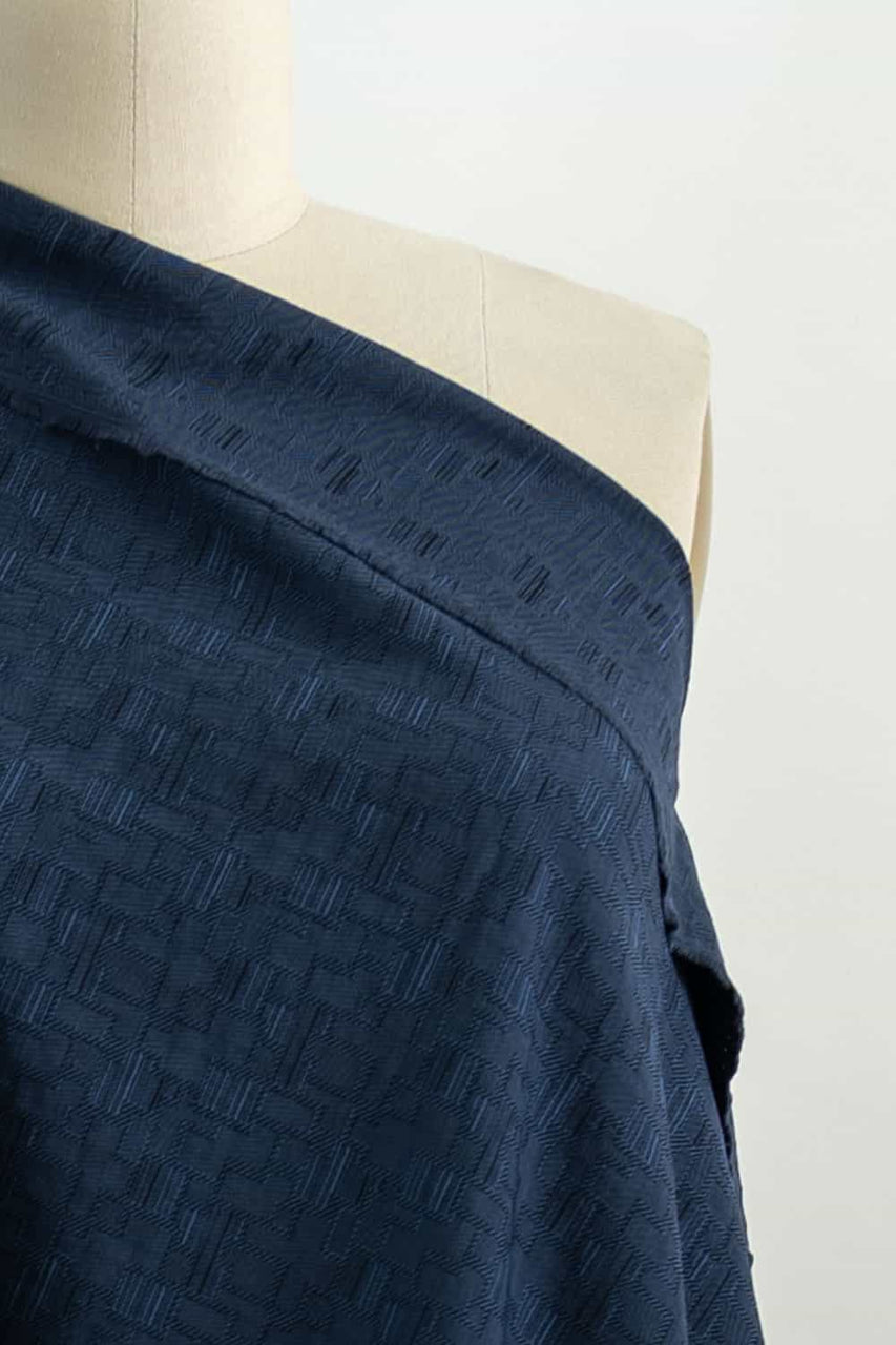 Noble Blue French Cotton Jacquard Woven