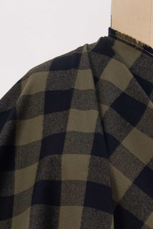 Olive Buffalo Check Cotton Flannel Woven