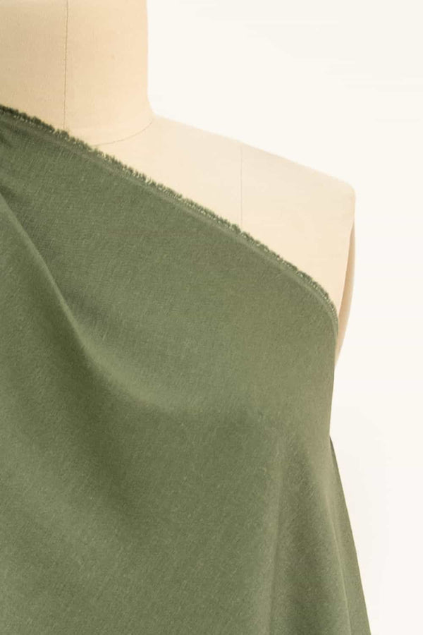 Olive Stretch Linen Woven