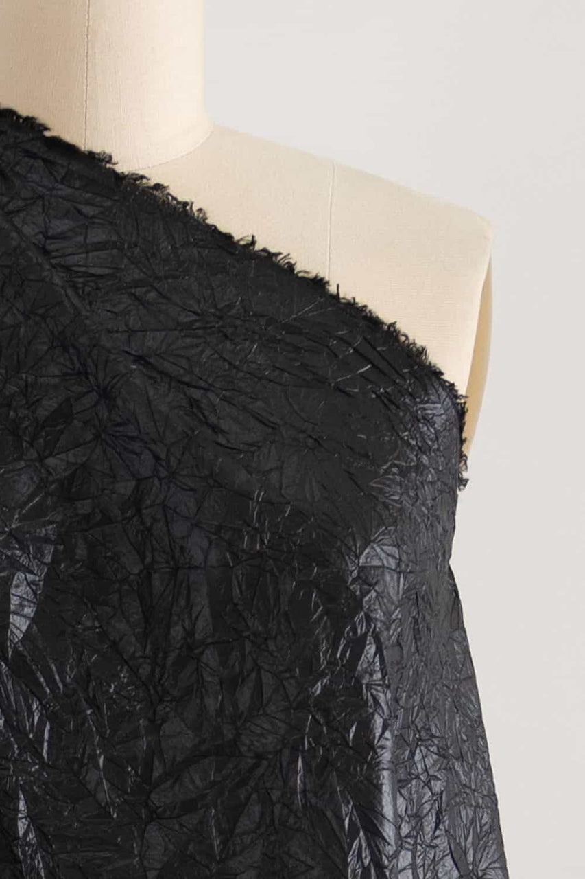 Patently Black Crinkle Woven