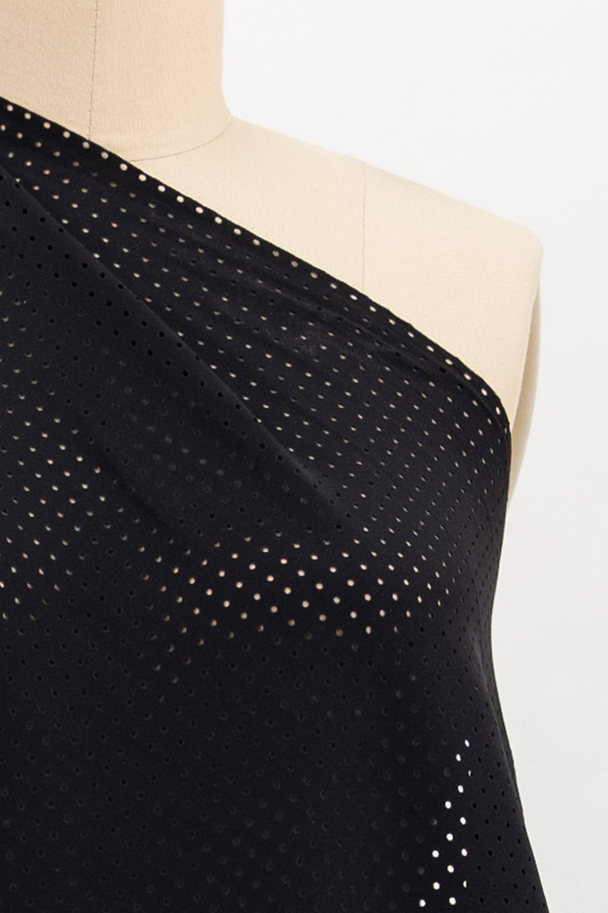 Perforated Black Ponte Knit