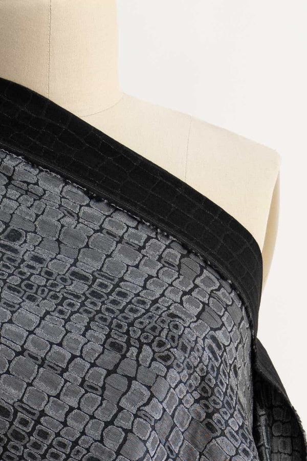 Pewter Croc French Jacquard Woven