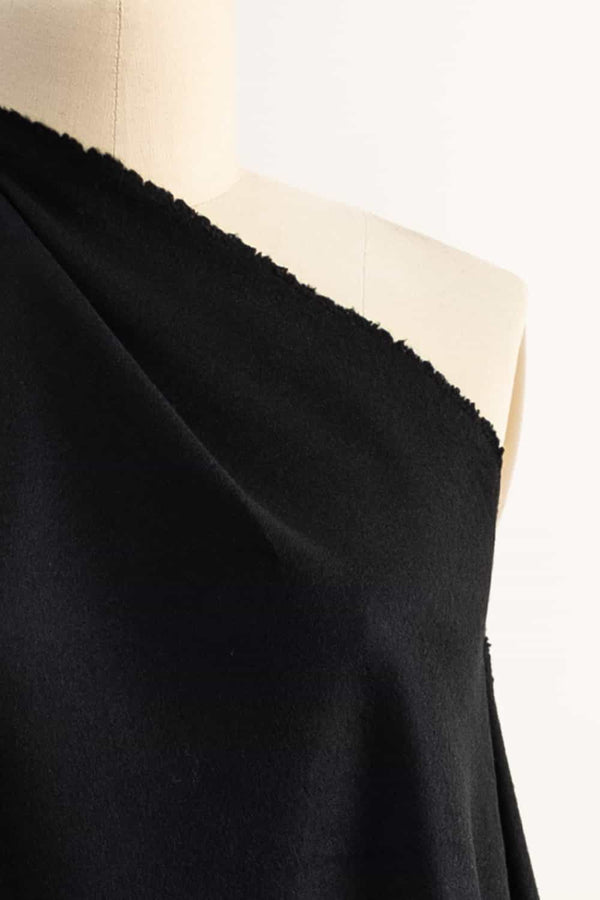 Pure Black Italian Wool/Cashmere Coating Woven